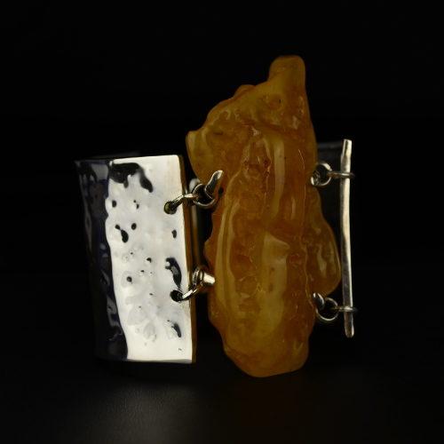 bransoleta z bursztynem srebro