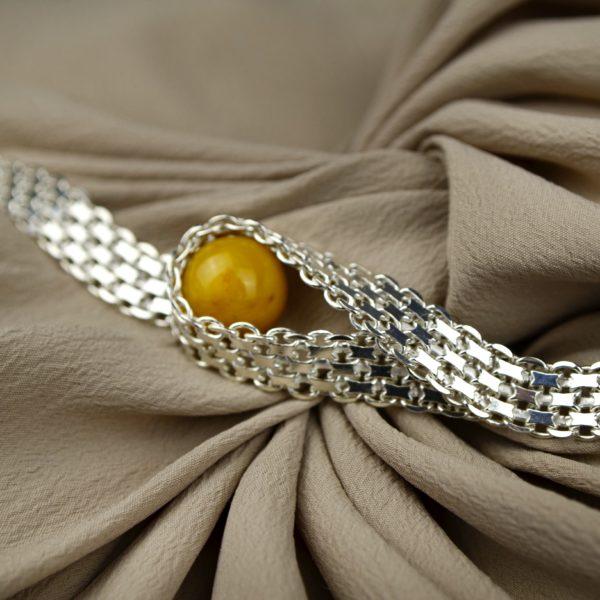 srebrna bransoletka z bursztynem